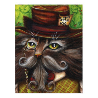 Mad Hatter Cat Alice in Wonderland Fantasy Art Postcard