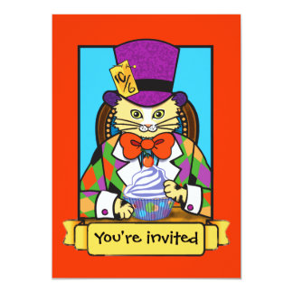 Mad hatter Cat birthday invite