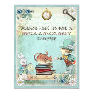 Mad Hatter & Cat Bring a Book Baby Shower 4.25x5.5 Paper Invitation Card