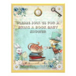 Mad Hatter & Cat Bring a Book Baby Shower Custom Invitations