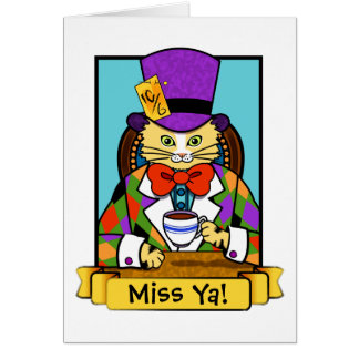 Mad hatter Cat Card