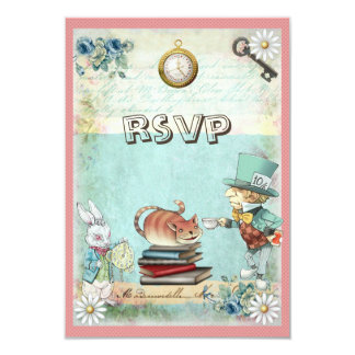 Mad Hatter & Cat RSVP Bring a Book Baby Shower Personalized Announcements