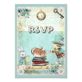 Mad Hatter & Cat RSVP Bring a Book Baby Shower Custom Announcements