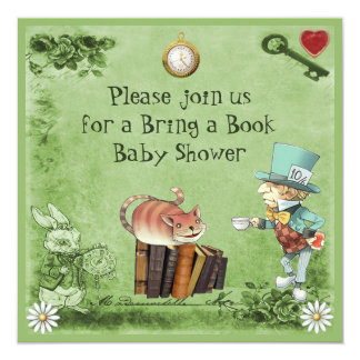 Mad Hatter & Cheshire Cat Bring a Book Shower Card