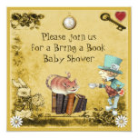 Mad Hatter & Cheshire Cat Bring a Book Shower 5.25x5.25 Square Paper Invitation Card