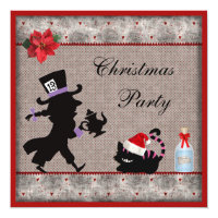 Mad Hatter & Cheshire Cat Christmas Party Invites
