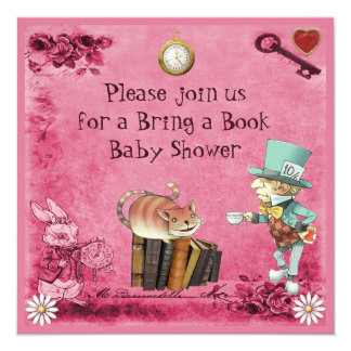 Mad Hatter & Cheshire Cat Pink Bring a Book Card