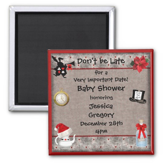 Mad Hatter Christmas Baby Shower Save the Date Magnet