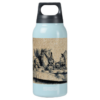 Mad Hatter design on burlap background Insulated Water Bottle