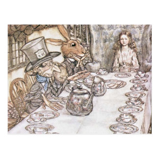Mad Hatter, Hare and Alice at the Tea Table Postcard