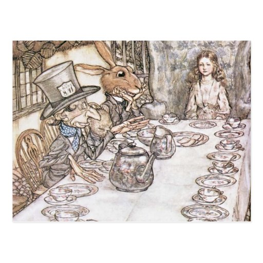 Mad Hatter, Hare and Alice at the Tea Table Post Card