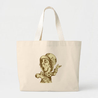 Mad Hatter Inked Sepia Tote Bags
