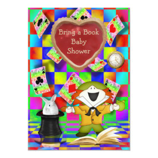 Mad Hatter Jam Tart Heart Bring a Book Baby Shower 5x7 Paper Invitation Card