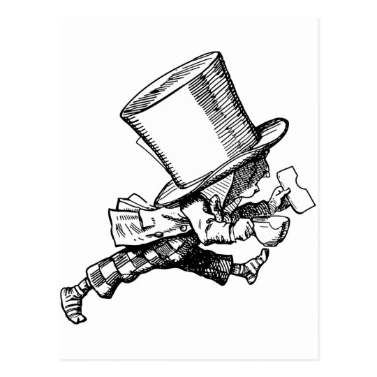 Mad Hatter just as hastily leaves Postcard