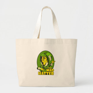 Mad Hatter Logo Yellow Green Large Tote Bag