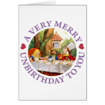 Mad Hatter Says a Very Merry Unbirthday to You! Greeting Cards