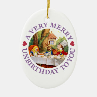 Mad Hatter Says a Very Merry Unbirthday to You! Ceramic Ornament