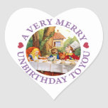 Mad Hatter Says a Very Merry Unbirthday to You! Heart Sticker