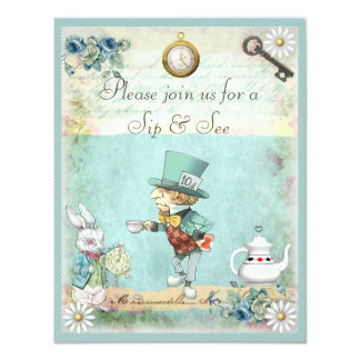 Mad Hatter Sip & See Baby Shower 4.25x5.5 Paper Invitation Card