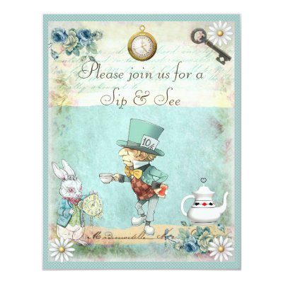 sip & see vintage alice in wonderland baby shower card | zazzle, Baby shower invitations
