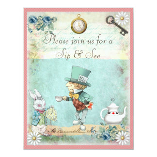 Mad Hatter Sip & See Baby Shower for Girls 4.25x5.5 Paper Invitation Card