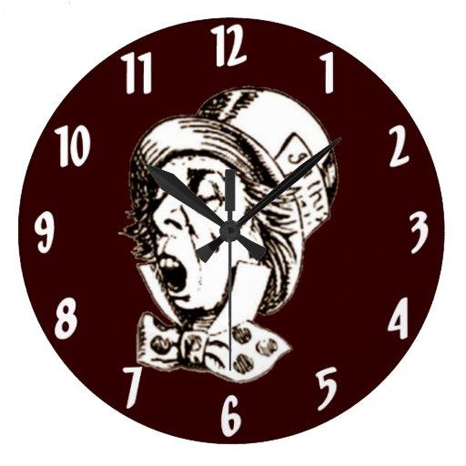 Mad Hatter Speech in Sepia Wall Clock