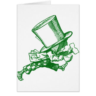 Mad Hatter Striding Right Inked Green Card