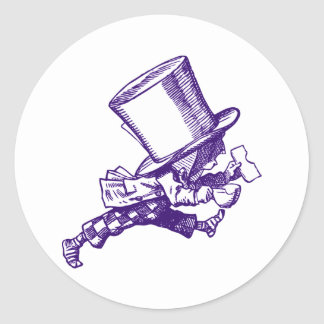 Mad Hatter Striding Right Inked Purple Classic Round Sticker