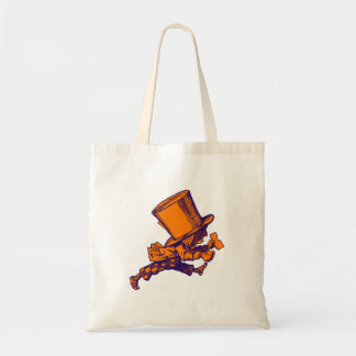 Mad Hatter Striding Right Inked Purple Orange Tote Bag