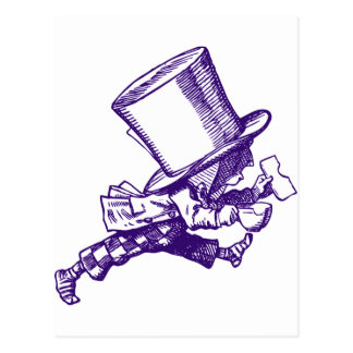 Mad Hatter Striding Right Inked Purple Postcard
