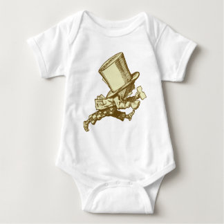 Mad Hatter Striding Right Inked Sepia Baby Bodysuit