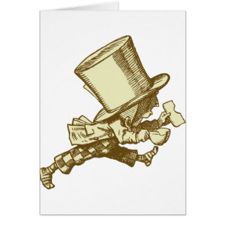 Mad Hatter Striding Right Inked Sepia Card