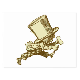 Mad Hatter Striding Right Inked Sepia Postcard
