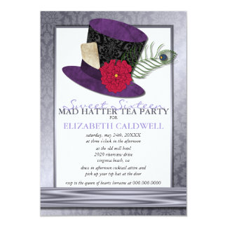 Mad Hatter Sweet 16 Invitation