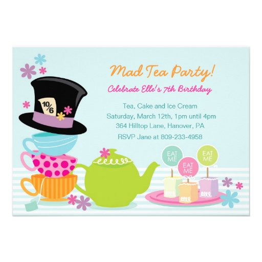 mad hatter tea birthday party invitations 5 x 7