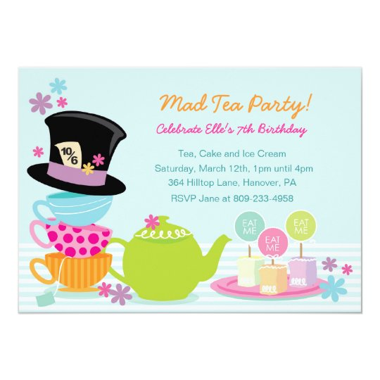Mad Hatter Tea Birthday Party Invitations – Tea Birthday Party Invitations