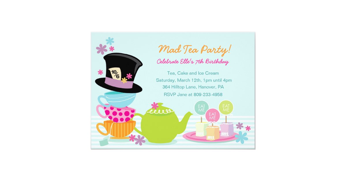 Mad Hatter Tea Birthday Party Invitations | Zazzle.com