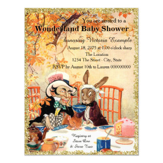 Mad Hatter Tea Party Baby Shower 4.25x5.5 Paper Invitation Card