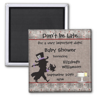 Mad Hatter Tea Party Baby Shower Save the Date 2 Inch Square Magnet