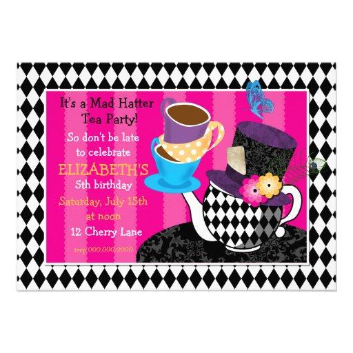 Mad Hatter Tea Party Birthday Invitation diamond