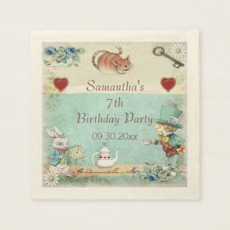 Mad Hatter Tea Party Birthday Party Personalized Standard Cocktail Napkin