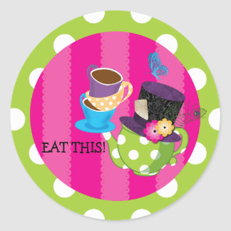 Mad Hatter Tea Party Birthday Sticker