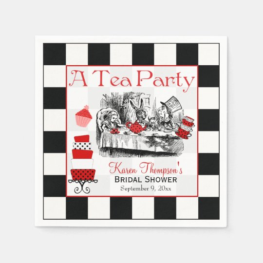 mad hatter tea party bridal shower napkins