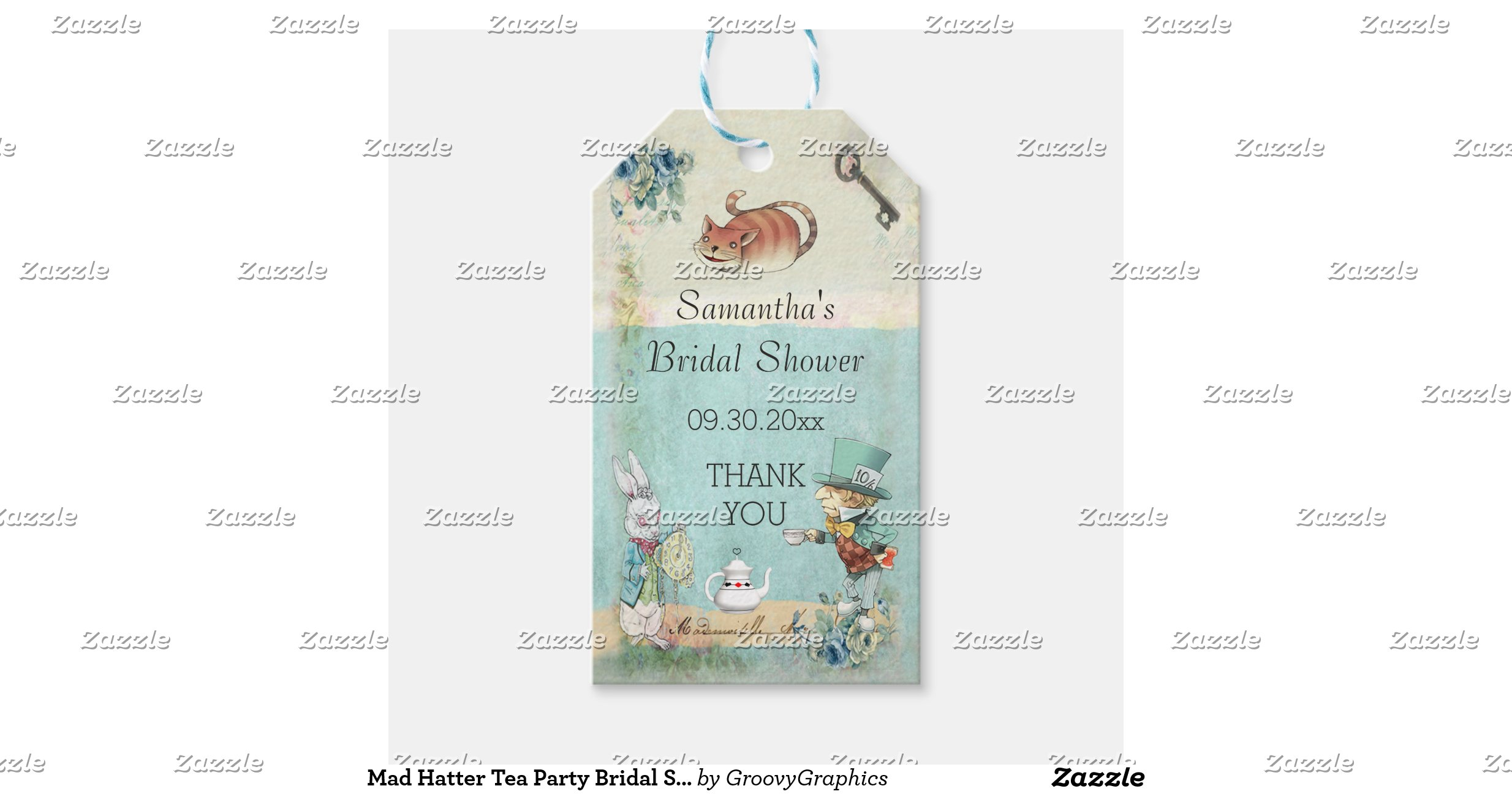Baby Gift Ideas Under $10 : Mad hatter tea party bridal shower thank you pack of gift