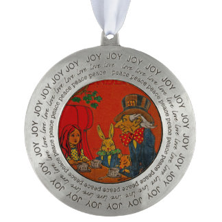 Mad Hatter Tea Party Round Pewter Christmas Ornament