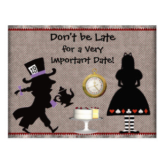 Mad Hatter Tea Party Save the Date Baby Shower Postcard