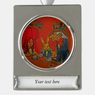 Mad Hatter Tea Party Silver Plated Banner Ornament