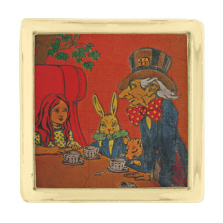 Mad Hatter Tea Party Gold Finish Lapel Pin