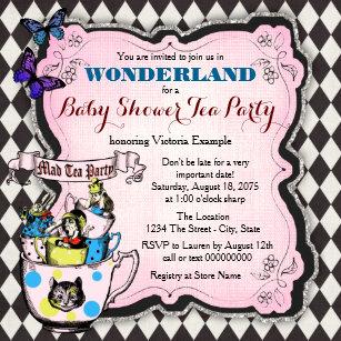 Mad Hatter Tea Party Wonderland Baby Shower Invitation