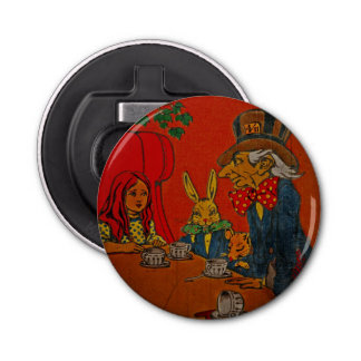 Mad Hatter Tea Party Button Bottle Opener